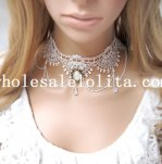 Women's Handmade White Lace Pearl Pendant Necklace for Bride/Bridesmaid Accessory
