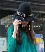 Paris Style Black Wool Women's Big Brim Winter Hat