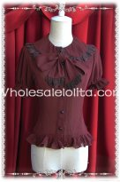 Ladies Dark Coffee Chiffon Big Bow Tie Short Sleeves Lolita Blouse