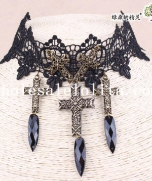 Hotsale Black Lace Collar Choker Copper Cross Pendant Necklace