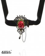 Fashion Gothic Lace Pendant Necklace with Red Rose for Prom