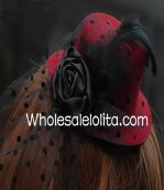 Black and Red Dotted Feather Retro Mini Top Hat