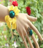 Vintage Lace Bracelet and Ring Yellow Gothic Bracelet