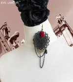 Gothic Black Dance Lolita Earrings EH-03