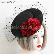 Retro Sexy Roses Flowers Hat Masquerade Party Accessories