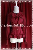 Ladies Red Chiffon Bow Tie Slim Fit Lolita Blouse