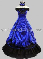 Royal Blue Southern Belle Civil War Ball Gown Prom Dress Reenactment Stage Costume