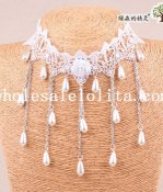 Charm White Lace Pearl Pendant Necklace for Women