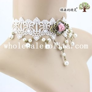 Wedding Prom Fashion White Lace Collar Choker Pearl Pendant Necklace with Rose