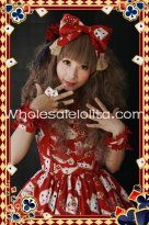 Purplish Red Playing Card Printing Big Lolita HeadBow