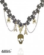 Hotsale Skull Spider Star Pendant Black Lace Necklace
