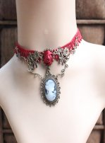 Gothic Burgundy Crystal Lace Lolita Necklace