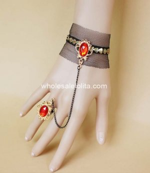 New Sexy Black Lace Red Gem Golden Bracelet & Ring