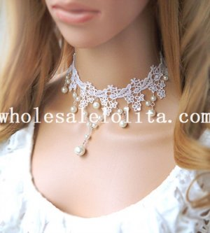 Women's Handmade Pearl Pendant White Lace Necklace for Bride/Bridesmaid