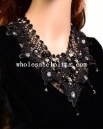 Vintage Graceful Gothic Black Lace Pendant Necklace with White Gem