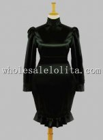 Gothic Black Tight Over Hip Silk-like Dress Stage Costume
