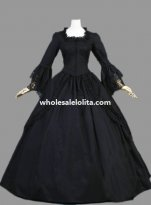 Historical Gothic Black Cotton Marie Antoinette Dress Halloween Masquerade Ball Gown
