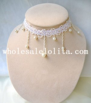 White Lace Beautiful Collar Choker Pearl Pendant for Wedding Prom