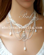 Women's White Lace Pearl Crystal Pendant Chain Necklace for Gift