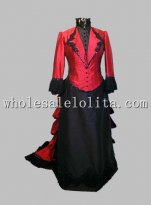 Gothic Red and Black Thick Satin Victorian Bustle Period Dress Reenactment Clothing
