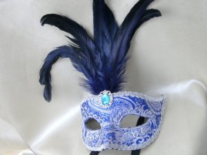 Elegant Blue Silver Leather Masquerade Mask
