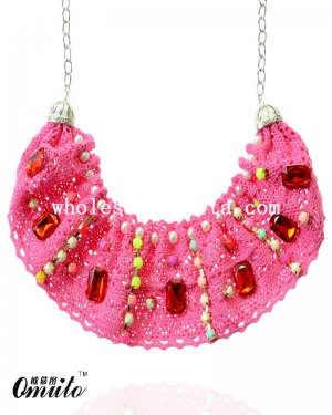 Fashion Pink Lace Collar Choker Gem Pearl Necklace for Prom