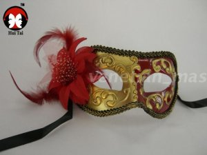 Manual Red Feather Costume Party Mask