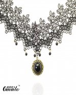 Hotsale Black Lace Necklace Pendant with Pearl for Parties