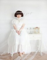 Vintage Royal Court White Chiffon Mori Girl Long Lolita Dress