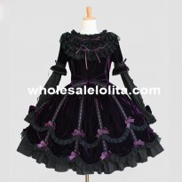 Purple Velvet Removable Sleeves Gothic Lolita Dress Costume