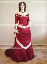 Red and Black Satin Victorian Ball Gown Vintage Dress Holiday Dress