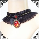 Gothic Black & Red Lace Bow Red Gem Necklace