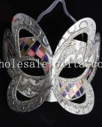 Halloween Butterfly Shaped Silver Masquerade Mask with Mosaic Detail