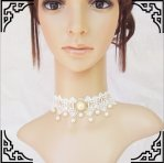 Gothic Mori Girl White Lace Bride Necklace