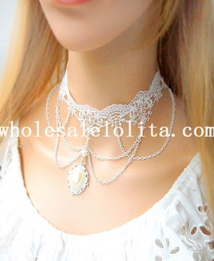 Royal White Lace Gothic Collar Choker Pearl Pendant Necklace