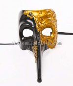 Venetian Long Nose Carnival Mask in Black and Gold Color