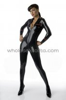 Sexy Low Cut Front Zipper Black Latex Military Uniform for Women