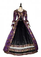 Renaissance Princess Colonial Period Floral Prom Dress Ball Gown Theater Costume