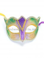 Half Face Venetian Party Masquerade Mask in Purple and Green