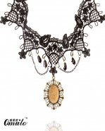 Fashion Gem Pendant Black Lace Necklace for Prom