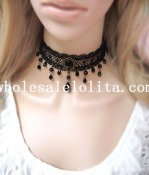 Women's Black Lace Gem Pendant Gothic Fashion Necklace for Gift