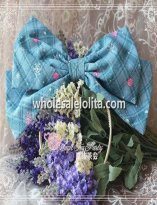 Light Blue Grid KC Big Bow Lolita Headdress