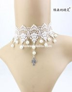 Hotsale Gothic Charm White Lace Pearl Pendant Collar Choker Necklace for Wedding Prom