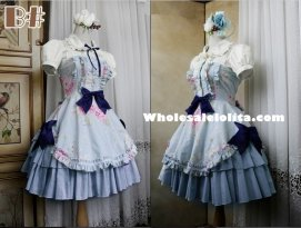 Dusty Blue Floral Ruffles Classic Lolita Dress