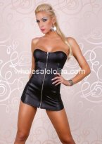 Sexy Black Strapless Front Zipper PVC Mini Dress