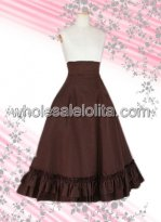 Brown Multilayer Cotton Lolita Skirt with Bandage Back