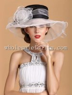Gorgeous Classic Black and White Organza Big Brim British Kentucky Derby Hat