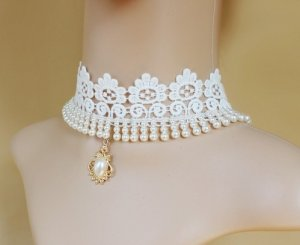 Elegant White Bride Lace Pearl Handmade Necklace