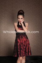 Noble Red Floral Halter Backless Gothic Evening Dress