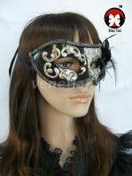 Manual Black Silver Costume Party Mask